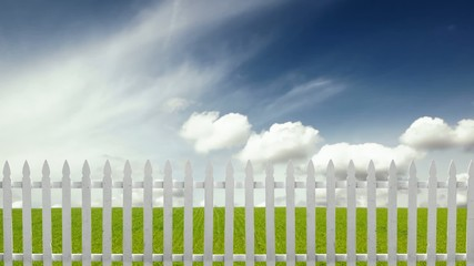 Fence on Grass Sky