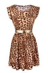Animal print dress with golden belt