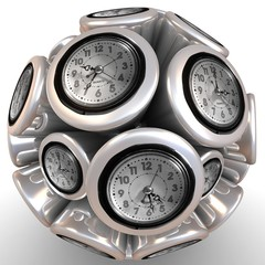 abstract wall clock in form of sphere