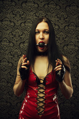 Girl with mouth gag