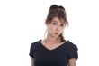 Gesicht: Erstaunte junge Frau freigestellt