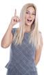 Frau isoliert mit erhobenem Zeigefinger