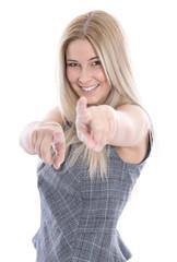 Junge begeisterte Frau mit Zeigefinger isoliert