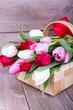 mit Tulpen gefüllter Korb auf Holzdielen