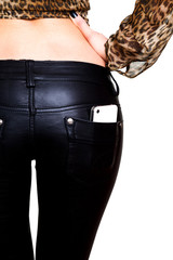 Female butt in leather pants