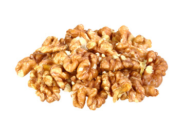 Heap of beige walnuts