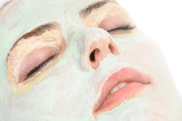 beauty salon, closeup of facial mask applied