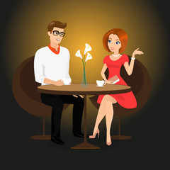 Young man and woman have a date in the restaurant