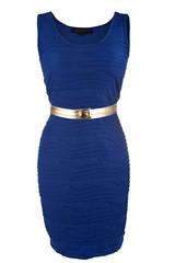 Simple blue dress with golden belt