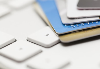 credit cards on computer keyboad