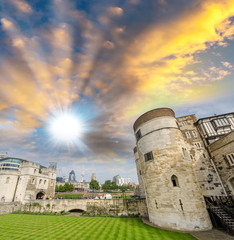 Tower of London in England, Ancient walls and garden