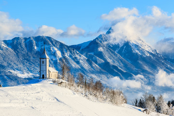 St. Primo church near Jamnik in winter, Slovenia