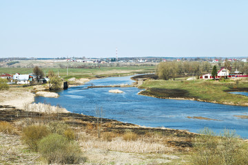 spring country landscape with Moskva River