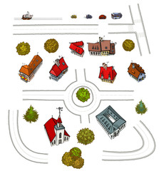 Set of several buildings, trees, vehicles and roads.