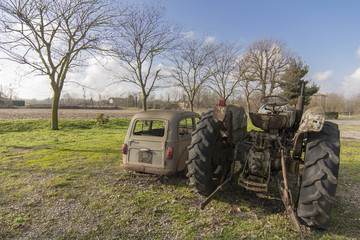 rusty old car and tractor
