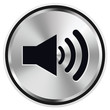 Musik Lautstärke Lautsprecher Button Icon Metal Vektor