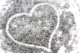 Fototapety glitter silver background with heart