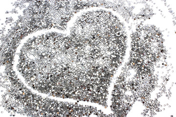glitter silver background with heart