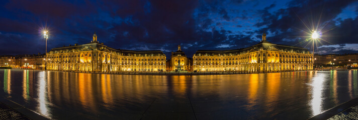 Evening panorama of Place de la Bourse in Bordeaux