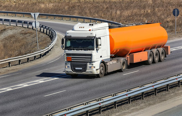 fuel truck on the highway
