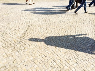 shadows in busy street