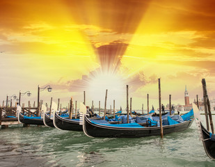 Row of famous Gondolas in Venice