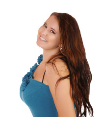 The smiling girl with the big breast on a white background