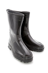 Black man's rubber boots on a white background