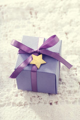 Handmade present boxes with star shaped tags