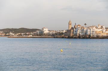 Village skyline at Sitges, Spain