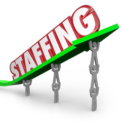 Staffing Word Arrow Lifted by Employees Workers Hires