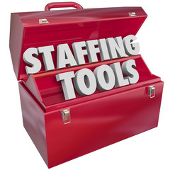 Staffing Tools Words in Red Toolbox Hiring Employee Job Resource