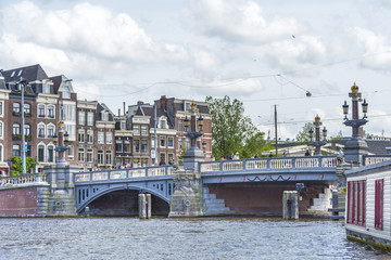 Blauwbrug (Blue Bridge) in Amsterdam, Netherlands.