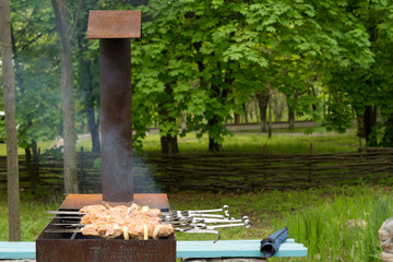 Kebabs cooking on a barbecue in woodland