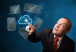 Businessman touching high technology cloud service