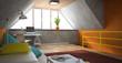 Interior of a modern loft with orange walls