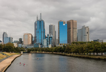 rowing boats on Yarra river in Melbourne, Australia