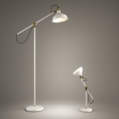 Floor lamp and desk lamp on grey background