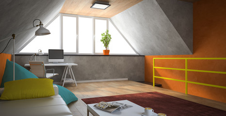 Interior of a modern loft with orange walls