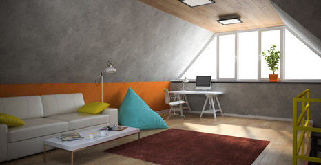 Interior of a modern loft with yellow railing and orange wall
