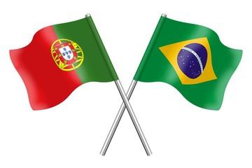 Bandeiras: Portugal e Brasil