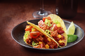 Tex-mex cuisine with corn tacos with meat