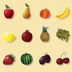 fruits and berries: apple, strawberry, banana
