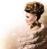 Fototapety Beautiful model girl in luxury fur coat