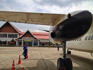 Small Commercial Airplane at Regional Airport, Pakse, Laos