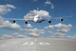 Low pass of white plane - 64241376