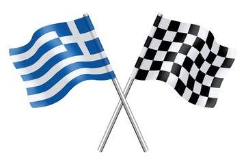 Flags: Greece and checkerboard