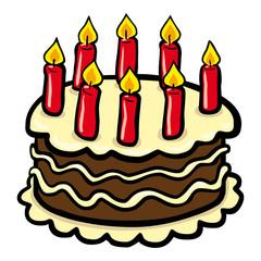 Bunte Comiczeichnung eines Geburtstagskuchens – Vektor