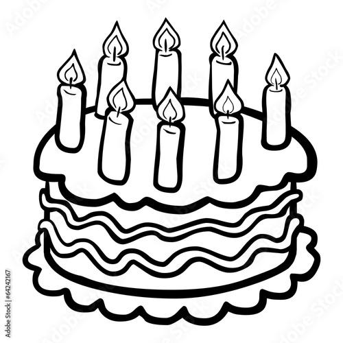 Quot Schwarz Wei 223 E Comiczeichnung Eines Geburtstagskuchens