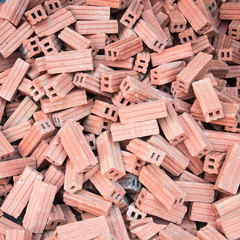 Pile of red bricks